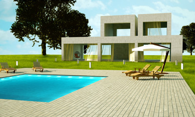 Modern house with pool day time view