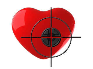 Red heart and target on white