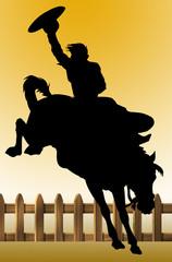ilustracion de un jinete, montando su caballo