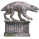 a stone creature - the gargoyle. 3D rendering with clipping
