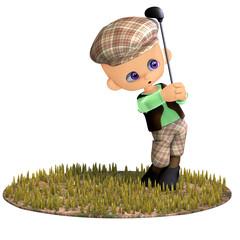 cute and funny cartoon golf player. 3D rendering with clipping