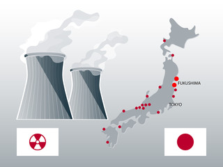 Japan nuclear power stations map with highlighted Fukushima