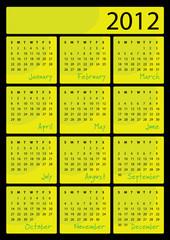 2012 calendar - vertical vector illustration - green color