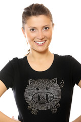 Pretty woman in pig t-shirt