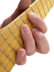 Hand on guitar string
