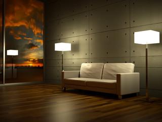 Sofa Rendering seitlich Abendrot beleuchtet