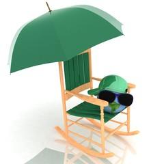 globe is in dark glasses under an umbrella on a rocking chair