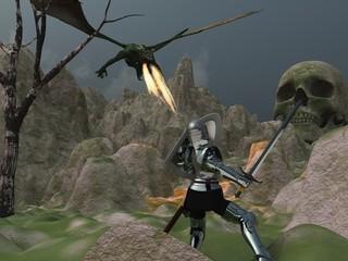 Knight faces dragon