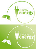 green energy with plug and leaf