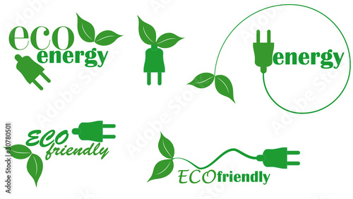 set of eco energy with plug and leaf