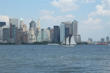 New York City harbor Skyline with sailboat