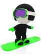 3D man snowboarding