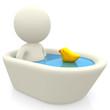 3D man taking a bath
