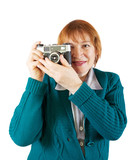 Senior  photographer with analog camera