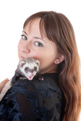 Polecat on a shoulder