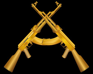 Vector illustration of two gold ak47