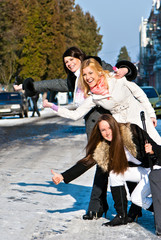 Cheerful, emotional girls on street