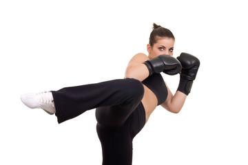 woman giving kick