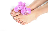 Fototapety Beautiful feet with perfect spa french nail pedicure.isolated