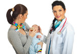 Mother with newborn visit doctor