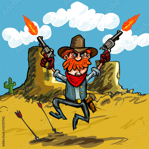 Foto Spatwand Wild West Cartoon cowboy jumping with his six guns
