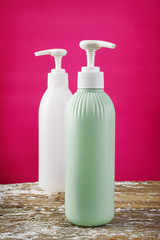 two lotion bottle