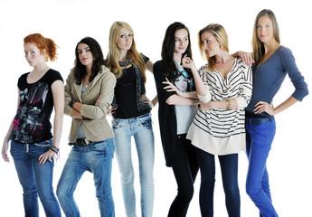 happy girls group isolated on white background