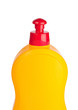 Yellow plastic bottle isolated on a white background