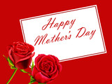 Mother's Day card with roses on a red background