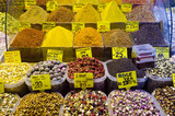 Colorful display of spices and tea in Egyptian Spice Bazaar