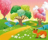 Fototapety Fox in the wood. Cartoon and vector scene. Isolated objects