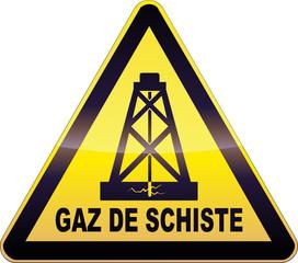 Panneau de danger jaune forage gaz de schiste (détouré)