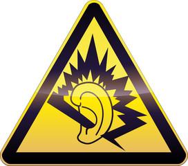 Panneau de danger jaune oreille endommagée (détouré)
