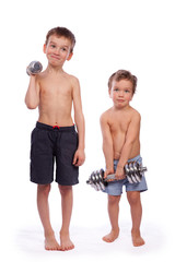 Two boys with dumbbells