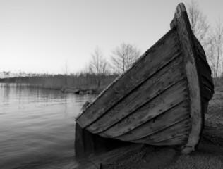 Broken wooden-boat at the beach.