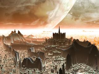 Planet-rise over Futuristic Alien Metropolis