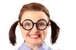 Fake geeky-looking teenage girl