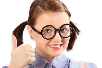 Geeky teenage girl