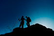 silhouettes of hikers
