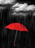 red umbrella in heave rain - 30803106