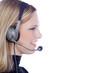 Beauty blonde Frau mit Headset hört freundlich zu, quer