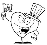 Black And White Coloring Page Outline Of A Heart Uncle Sam poster