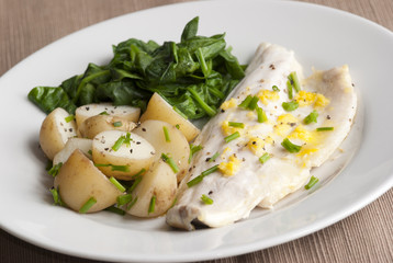 Seabass with new potatoes and spinach