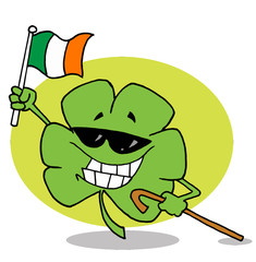 Happy Shamrock Carrying A Cane And Waving An Irish Flag