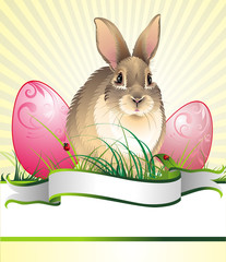 Easter background with rabbit and eggs