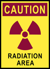 Safety sign for radiation area
