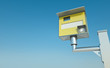 Traffic speed camera against blue sky. 3D render.