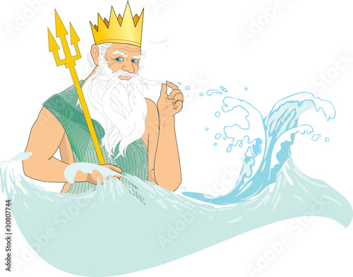 Neptune (Poseidon) in crown with trident at sea