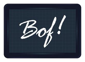 bof, déception, ardoise, exclamation, message, étiquette, mot