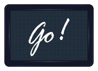 go, départ, ardoise, exclamation, message, étiquette, mot